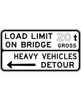 LOAD LIMIT ... t ON BRIDGE, HEAVY VEHICLES DETOUR