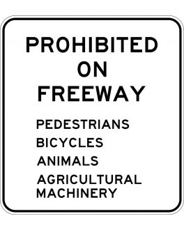 GUIDE SIGN PROHIBITED ON MOTORWAY