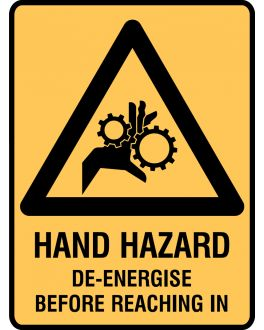 HAND HAZARD DE-ENERGISE BEFORE REACHING IN