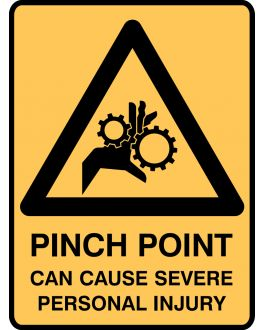 PINCH POINT CAN CAUSE SEVERE PERSONAL INJURY